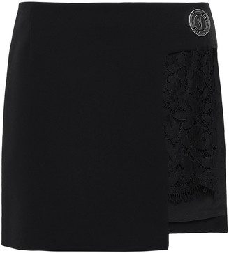 Versace Lace-paneled Crepe Mini Skirt