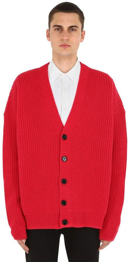 Raf Simons Wool Knit Cardigan Leather Patches