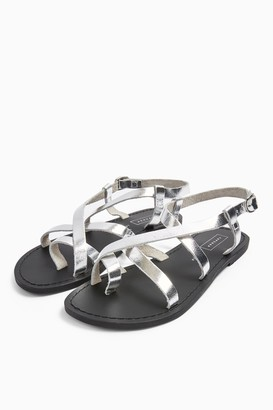 Topshop HICCUP Silver Leather Sandals