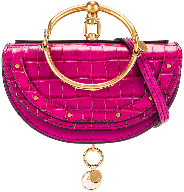Chloé Small Nile Embossed Croco Minaudiere in Graphic Pink   FWRD