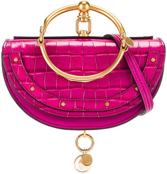 Chloé Small Nile Embossed Croco Minaudiere in Graphic Pink | FWRD