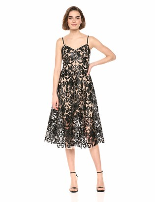 Dress the Population Women's Molly Sleeveless Sequin LACE FIT & Flare MIDI Dress