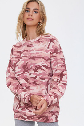 Forever 21 Camo Print Drop-Sleeve Pullover