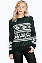 Boohoo Roxy Reindeer Fairisle Christmas Jumper