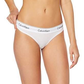 Calvin Klein Women's Underwear Cotton Thong, White (White 0), (Manufacturer Size: M)