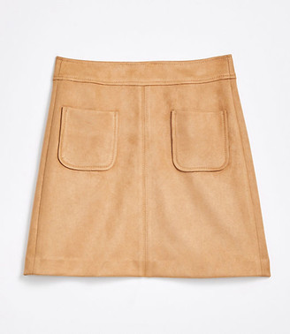 LOFT Petite Faux Suede Pocket Shift Skirt