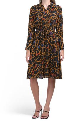 Long Sleeve Pintuck Shirt Dress