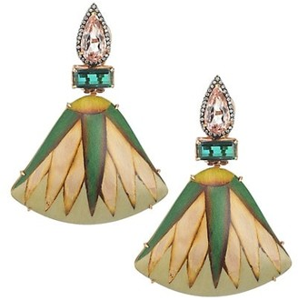 Silvia Furmanovich Marquetry 18K Yellow Gold, Tourmaline & Light Brown Diamond Fan Earrings