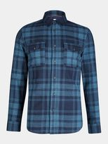 Burton Burton Navy And Teal Long Sleeve Check Shirt
