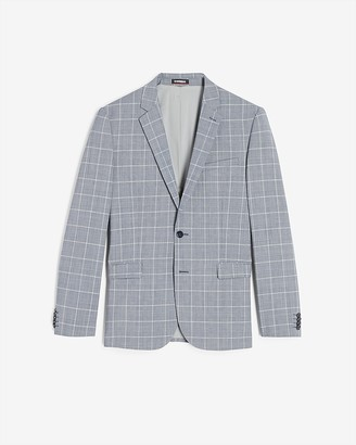 Express Extra Slim Blue Plaid Modern Tech Suit Jacket