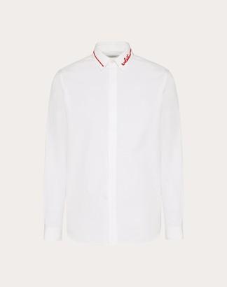 Valentino Redbroidery Shirt Man White/red 100% Cotone 38