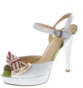 Loriblu White Leather Ankle Strap Peep Toe Platform Sandals Size 40