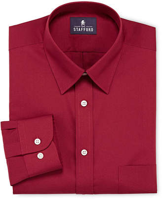 STAFFORD Stafford Travel Performance Super Shirt Mens Point Collar Long Sleeve Wrinkle Free Stain Resistant Dress Shirt
