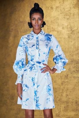 Marchesa Embroidered Cotton Poplin Shirt Dress