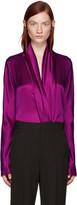 Haider Ackermann Purple Draped Silk Blouse
