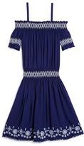 Ella Moss Girls' Embroidered Off-the-Shoulder Dress - Big Kid