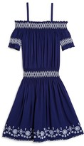 Ella Moss Girls' Embroidered Off The Shoulder Dress - Sizes 7-14