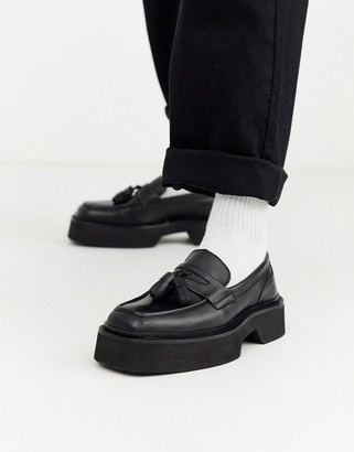 Asos Design DESIGN loafer in black leather with chunky sole and square toe