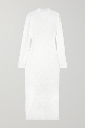Fendi Cotton-blend Jacquard-knit Midi Dress - White