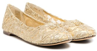Dolce & Gabbana Kids Logo Lace-Detail Ballerina Shoes
