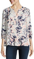 Liz Claiborne 3/4 Sleeve Split Crew Neck Woven Embroidered Blouse - Tall