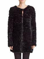 Adrienne Landau Knit Rabbit Fur Coat