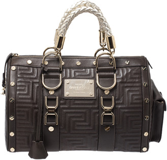 Gianni Versace Versace Military Green Leather Snap Out Of It Satchel