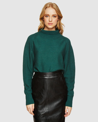 Oxford Women's Green Jumpers - Storm Funnel Collar Knit - Size One Size, XS at The Iconic