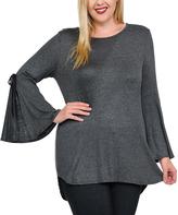 Celeste Charcoal Split-Sleeve Tunic - Plus