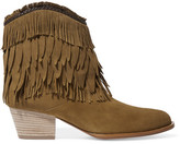 Aquazzura Pocahontas Fringed Suede Ankle Boots - Tan