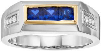 14k Gold & Rhodium over Silver Blue & White Sapphire Ring