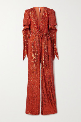 Naeem Khan Belted Sequined Tulle Wrap-effect Jumpsuit - Red