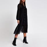 River Island Black frill long sleeve midi smock dress