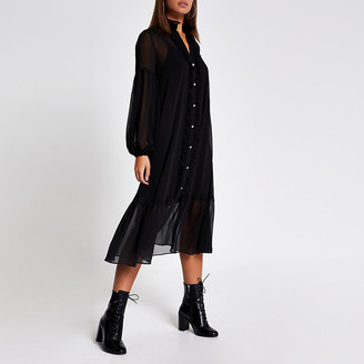 River Island Black frill long sleeve midi smock dress