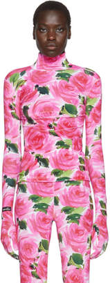 Richard Quinn Pink Floral Turtleneck