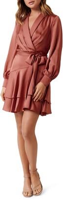 Ever New Mikayla Long Sleeve Satin Wrap Minidress