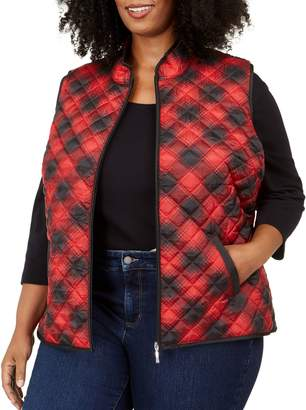 Karen Scott Plus Plaid Full-Zip Vest
