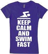 Micro Me Purple 'Keep Calm and Swim Fast' Crewneck Tee - Toddler & Girls