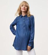LOFT Maternity Chambray Henley Tunic Softened Shirt