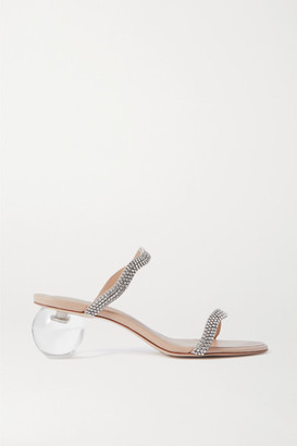 Cult Gaia Audrey Crystal-embellished Leather Mules - Clear