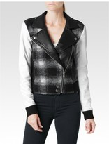 Paige Shelley Bomber Leather Mix - Black & White Plaid