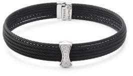 Alor Diamond, 18K White Gold & Stainless Steel Bangle Bracelet