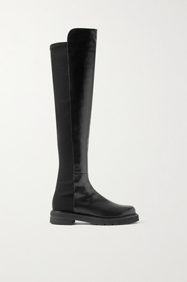 Stuart Weitzman 5050 Lift Leather And Neoprene Over-the-knee Boots - Black