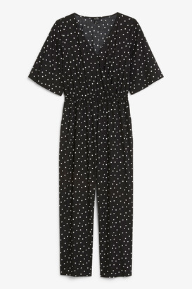 Monki Short-sleeved wrap jumpsuit