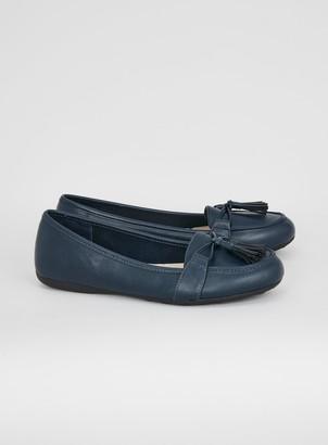 Evans WIDE FIT Navy Blue Tassel Soft Loafers