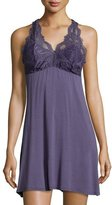 Fleurt Fleur't Lace-Back Tank Lounge Dress/Chemise, Blue Print