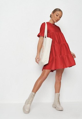 Missguided Red Frill Sleeve Smock Dress