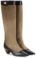 Marni Embellished Suede And Leather Knee-high Boots