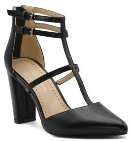 Adrienne Vittadini Women's Nocera T-Strap Leather Pumps Women's Shoes