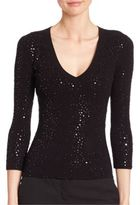 Michael Kors Paillette Three-Quarter Sleeve Top